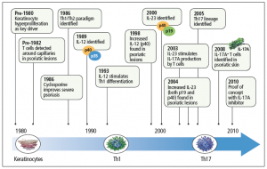 The evolution of psoriasis targeted therapy (adapted from Lynde 2014)