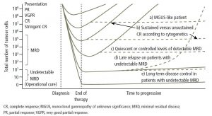Figure 3. Illustrating the paradigm of deeper response leading to improved progression-free survival.27 Republished with permission of American Society for Hematology, from Paiva, B, et al. Blood 2015;125(20)