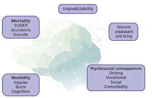 Figure 1: Consequences of uncontrolled epilepsy. Abbreviation: SUDEP, Sudden Unexplained Death in Epilepsy.