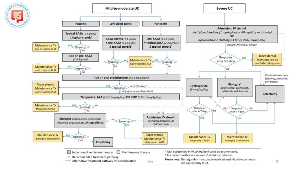 圖一、UC的建議治療流程。Source: Page 24 of http://www.tsibd.org.tw/news.php?index=25&c1=5