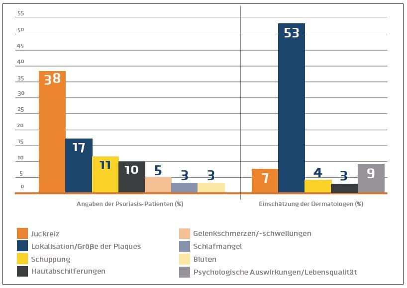Abb. 1: Faktoren, die bei Psoriasis am stärksten zur Schwere der Erkrankung beitragen. Modifiziert nach Lebwohl 2014 und van de Kerkhof 2015.