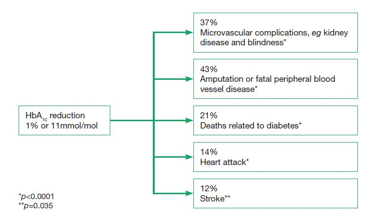 Figure 3. The UKPDS study has shown that reducing HbA   has substantial long-term benefits. Data from Stratton et al, 2000